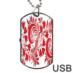 Red Flower Floral Leaf Dog Tag Usb Flash (one Side) by Mariart
