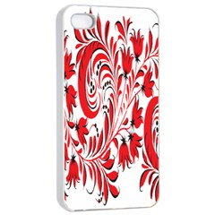Red Flower Floral Leaf Apple Iphone 4/4s Seamless Case (white) by Mariart