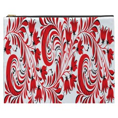 Red Flower Floral Leaf Cosmetic Bag (xxxl)  by Mariart
