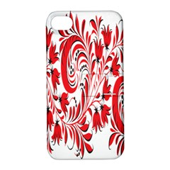 Red Flower Floral Leaf Apple Iphone 4/4s Hardshell Case With Stand by Mariart