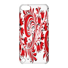 Red Flower Floral Leaf Apple Ipod Touch 5 Hardshell Case With Stand by Mariart