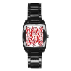 Red Flower Floral Leaf Stainless Steel Barrel Watch by Mariart