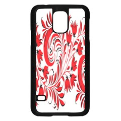 Red Flower Floral Leaf Samsung Galaxy S5 Case (black) by Mariart