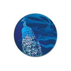 Peacock Bird Blue Animals Magnet 3  (round) by Mariart