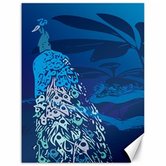 Peacock Bird Blue Animals Canvas 18  X 24   by Mariart