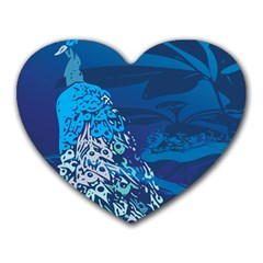 Peacock Bird Blue Animals Heart Mousepads by Mariart