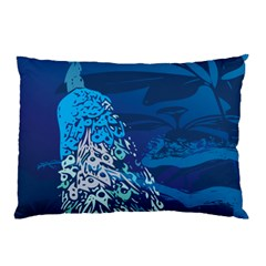 Peacock Bird Blue Animals Pillow Case by Mariart