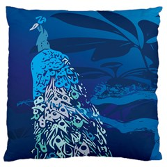 Peacock Bird Blue Animals Large Cushion Case (two Sides)