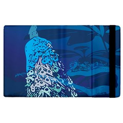 Peacock Bird Blue Animals Apple Ipad 3/4 Flip Case by Mariart