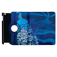 Peacock Bird Blue Animals Apple Ipad 3/4 Flip 360 Case by Mariart