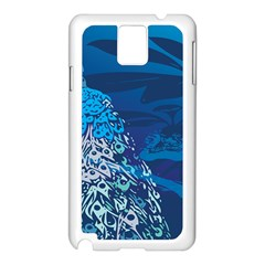 Peacock Bird Blue Animals Samsung Galaxy Note 3 N9005 Case (white) by Mariart
