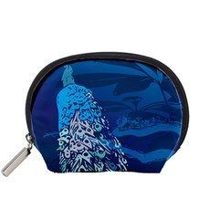 Peacock Bird Blue Animals Accessory Pouches (small)  by Mariart