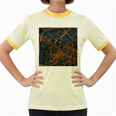 Virginia Map Art City Women s Fitted Ringer T Shirts