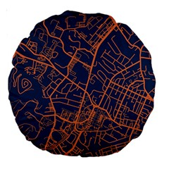 Virginia Map Art City Large 18  Premium Round Cushions by Mariart