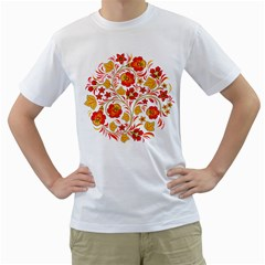 Wreaths Flower Floral Sexy Red Sunflower Star Rose Men s T-shirt (white) (two Sided) by Mariart