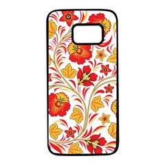 Wreaths Flower Floral Sexy Red Sunflower Star Rose Samsung Galaxy S7 Black Seamless Case by Mariart