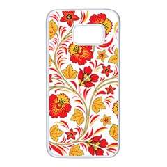 Wreaths Flower Floral Sexy Red Sunflower Star Rose Samsung Galaxy S7 White Seamless Case by Mariart