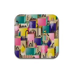 Magazine Balance Plaid Rainbow Rubber Square Coaster (4 Pack)  by Mariart