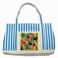 Magazine Balance Plaid Rainbow Striped Blue Tote Bag by Mariart