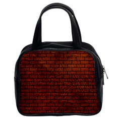 Brick1 Black Marble & Reddish Brown Leather Classic Handbags (2 Sides) by trendistuff