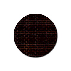 Brick1 Black Marble & Reddish Brown Leather (r) Rubber Round Coaster (4 Pack)  by trendistuff