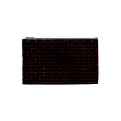 Brick1 Black Marble & Reddish Brown Leather (r) Cosmetic Bag (small)  by trendistuff