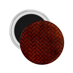 Brick2 Black Marble & Reddish Brown Leather 2 25  Magnets by trendistuff