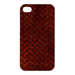 Brick2 Black Marble & Reddish Brown Leather Apple Iphone 4/4s Hardshell Case by trendistuff