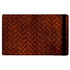Brick2 Black Marble & Reddish Brown Leather Apple Ipad 2 Flip Case by trendistuff