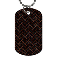 Brick2 Black Marble & Reddish Brown Leather (r) Dog Tag (one Side) by trendistuff