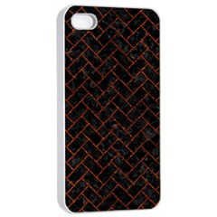 Brick2 Black Marble & Reddish Brown Leather (r) Apple Iphone 4/4s Seamless Case (white) by trendistuff