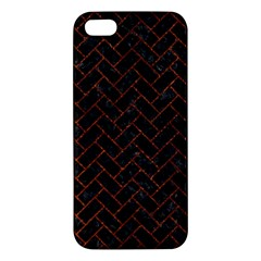 Brick2 Black Marble & Reddish Brown Leather (r) Iphone 5s/ Se Premium Hardshell Case by trendistuff