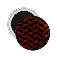 Chevron1 Black Marble & Reddish Brown Leather 2 25  Magnets by trendistuff