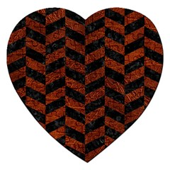 Chevron1 Black Marble & Reddish Brown Leather Jigsaw Puzzle (heart) by trendistuff