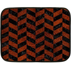 Chevron1 Black Marble & Reddish Brown Leather Double Sided Fleece Blanket (mini)