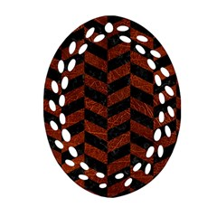 Chevron1 Black Marble & Reddish Brown Leather Oval Filigree Ornament (two Sides) by trendistuff