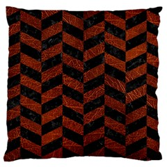 Chevron1 Black Marble & Reddish Brown Leather Large Cushion Case (one Side) by trendistuff