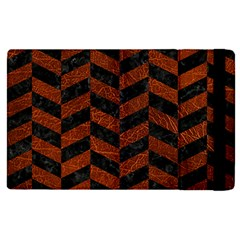 Chevron1 Black Marble & Reddish Brown Leather Apple Ipad Pro 12 9   Flip Case by trendistuff