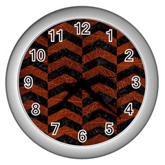 Chevron2 Black Marble & Reddish Brown Leather Wall Clocks (silver)  by trendistuff
