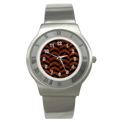 Chevron2 Black Marble & Reddish Brown Leather Stainless Steel Watch by trendistuff