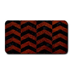Chevron2 Black Marble & Reddish Brown Leather Medium Bar Mats by trendistuff