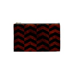 Chevron2 Black Marble & Reddish Brown Leather Cosmetic Bag (small)  by trendistuff