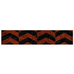 Chevron2 Black Marble & Reddish Brown Leather Flano Scarf (small)