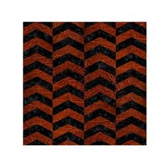 Chevron2 Black Marble & Reddish Brown Leather Small Satin Scarf (square) by trendistuff