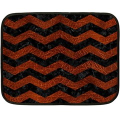 Chevron3 Black Marble & Reddish Brown Leather Double Sided Fleece Blanket (mini)