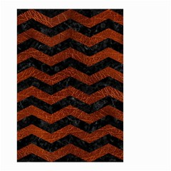 Chevron3 Black Marble & Reddish Brown Leather Small Garden Flag (two Sides)