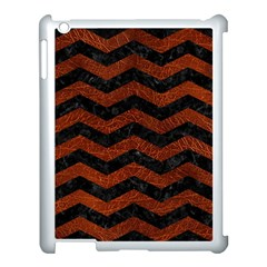 Chevron3 Black Marble & Reddish Brown Leather Apple Ipad 3/4 Case (white) by trendistuff