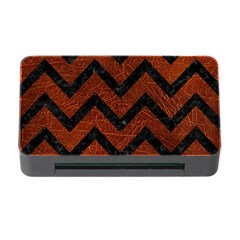 Chevron9 Black Marble & Reddish Brown Leather Memory Card Reader With Cf by trendistuff
