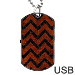 Chevron9 Black Marble & Reddish Brown Leather Dog Tag Usb Flash (one Side) by trendistuff