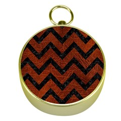 Chevron9 Black Marble & Reddish Brown Leather Gold Compasses by trendistuff